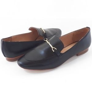 LOFT Black Faux Leather Flat Loafers Shoes